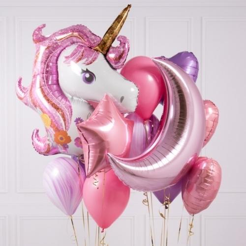 Букет из шаров розового цвета для детского праздника