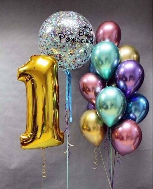 Букет и цифры из фольгированных шаров