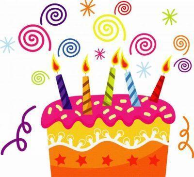 С Днём рождения: торт, свечи, серпантин