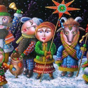 Дети колядуют на праздник Рождества