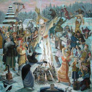 Сжигание Чучела Зимы на Масленицу (картина)