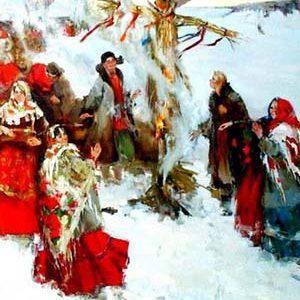 Старинный русский обряд сжигания чучела Зимы на Масленицу (рисунок)