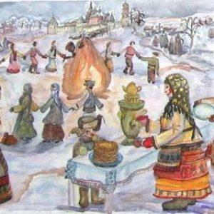 """Рисунок """"Народные гуляния на Масленицу"""""""