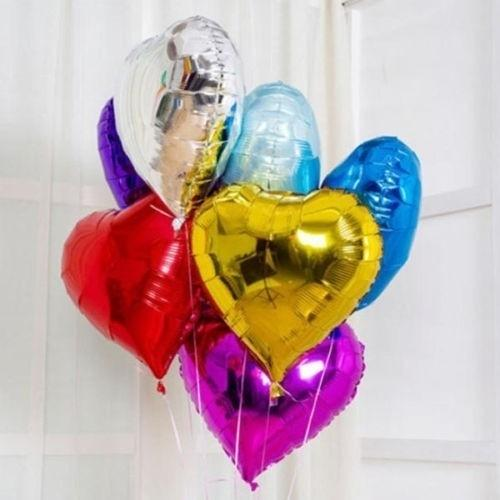 Букет из фольгированных шаров в форме сердечка